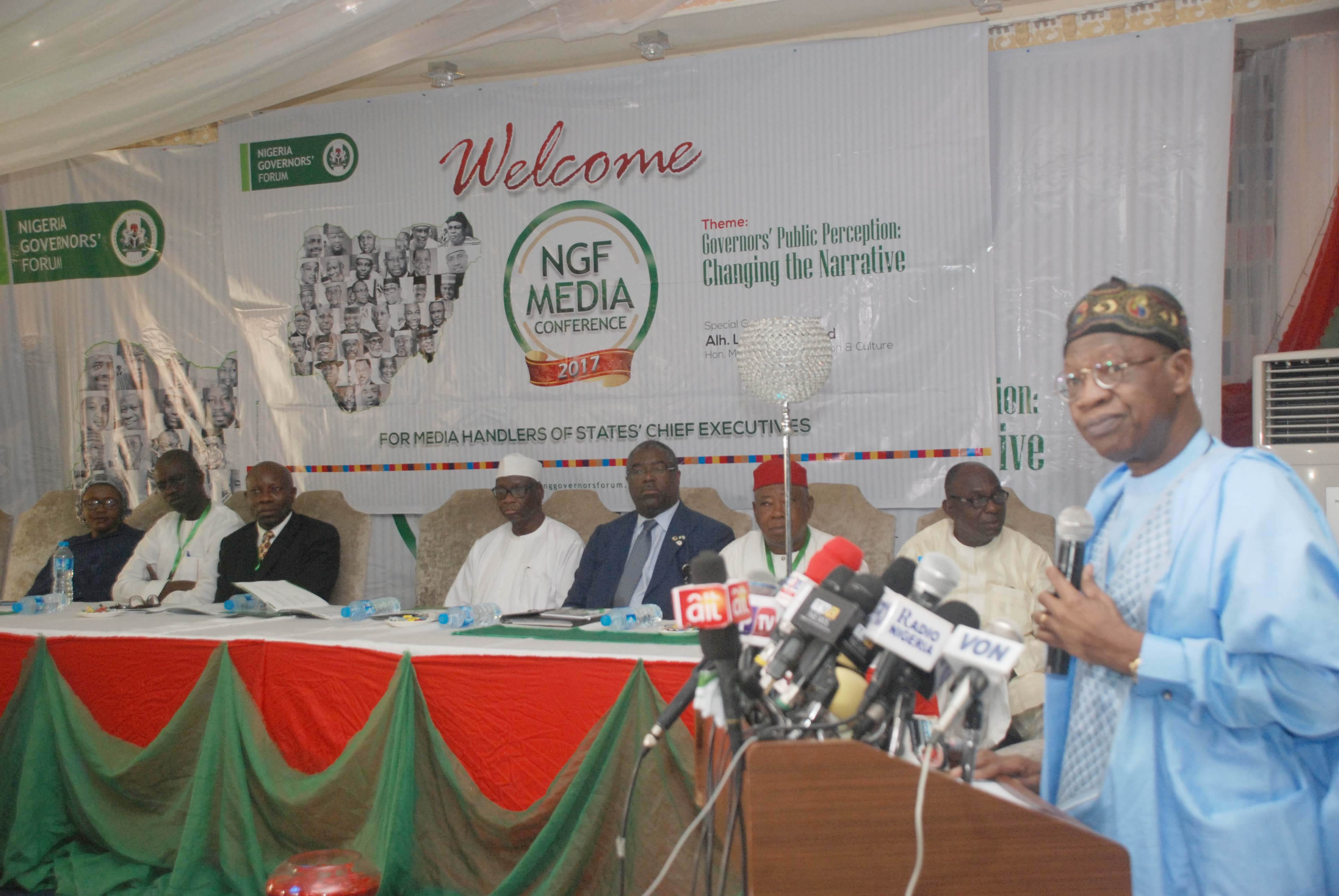 Hon. Min. Information & Culture Alh. Lai Mohammed, Addressing Media Handlers.